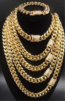 Miami Cuban Link Chain W CZ Clasp 18k Gold Plated Stainless Steel