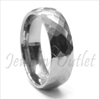 8MM High Shine Faceted Tungsten Carbide Band