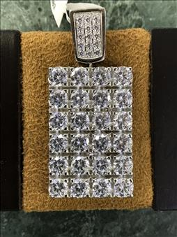 Dog Tag White Gold Plated