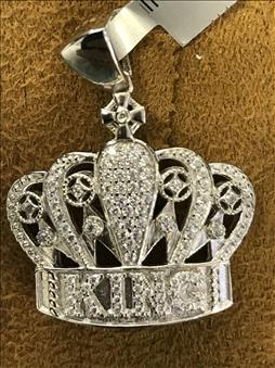 King's Crown Pendant Sterling Silver White Gold Plated