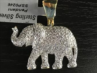 Elephant Pendant - Charm Sterling Silver Gold Plated