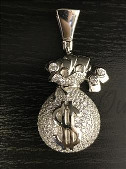 Money Bag Pendant - Sterling Silver CZ