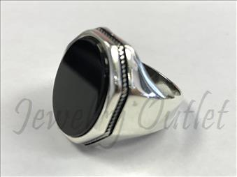 Sterling Silver Large Ring with Black Onyx