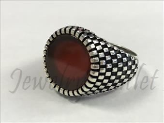 Sterling Silver Ring W Red Onyx