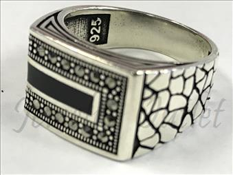 Sterling Silver Men Ring Black Stone