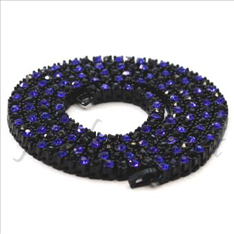 Hip Hop Fashion 1 Row Necklace in Black Plating With Blue & Black Stones