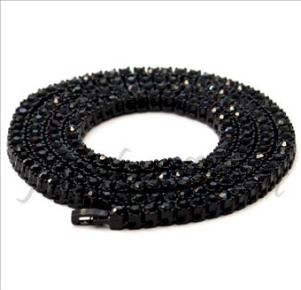 Hip Hop Fashion One Row Necklace in Black Plating & Black Stone