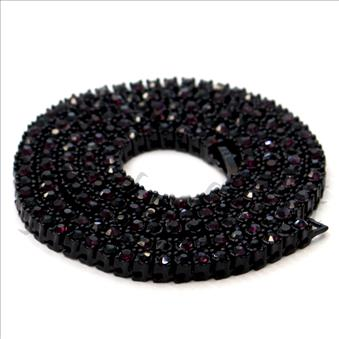 Hip Hop Fashion One Row Necklace in Black Plating With Black & Purple Stone
