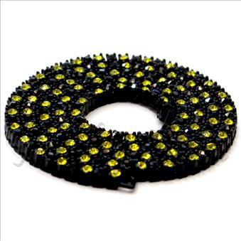 Hip Hop Fashion One Row Necklace in Black Plating With Black & Yellow Stone