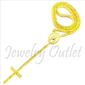 Hip Hop Fashion 1 Row Crystal Rosary Beautiful Shiny Stones and Gold Plating With Yellow Stones 30 inches Rosary Chain with 6 inches dangling part with Cross.