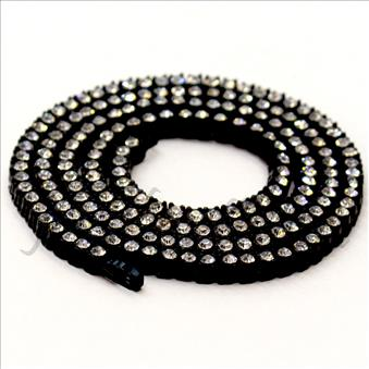 Hip Hop Fashion One Row Necklace in Black Plating & White Stone