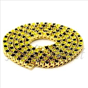 Hip Hop Fashion 1 Row Necklace in Yellow Plating With Black & Yellow Stones