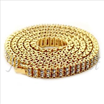 Hip Hop Fashion 2 Row Necklace in Gold Plating With White Stones