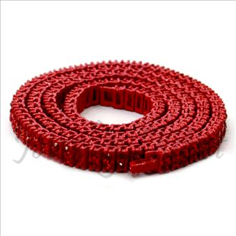 Hip Hop Fashion Two Row Necklace in Red Plating With Red Stone