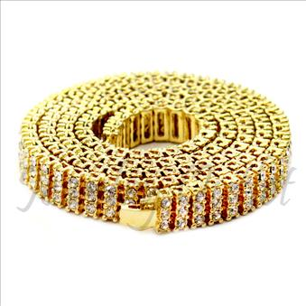 Hip Hop Fashion 3 Row Necklace in Gold Plating With White Stones