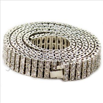 Hip Hop Fashion 4 Row Necklace in Silver Plating With White Stone