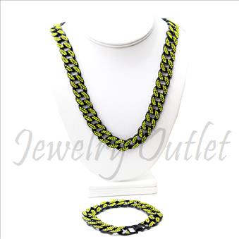 Hip Hop Fashion Cuban Stylish Chain With Bracelet 
