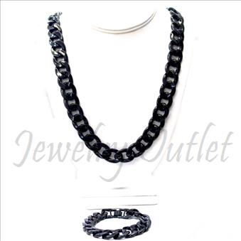 Hip Hop Fashion Cuban Stylish Chain With Bracelet 30 Inch Chian & 8 Inch Bracelet