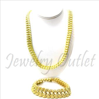 Hip Hop Fashion Diamond Cut Cuban Stylish Chain With Diamond Cut Cuban Bracelet 30 Inch Chian & 8 Inch Bracelet
