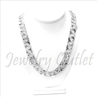 Hip Hop Fashion Cuban Chain With Half Stone 30 Inch