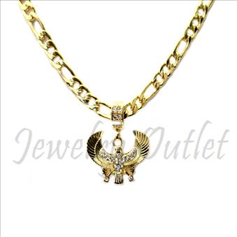 Hip Hop Fashion Necklace and pendant Set With 24 Inch Figaro Chain