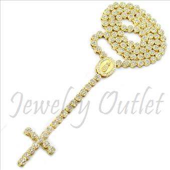 Hip Hop Fashion Flowers Crystal Rosary Beautiful Shiny Stones and Gold Plating With White Stones 30 inches Rosary Chain with 6 inches dangling part with Cross
