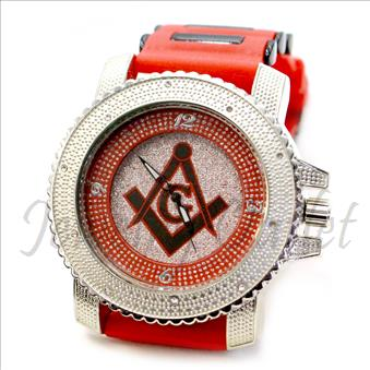 Hip Hop Fashion bling eyes Watch With Red Jelly Band Water Resistant and Stainless Steel Back Cover