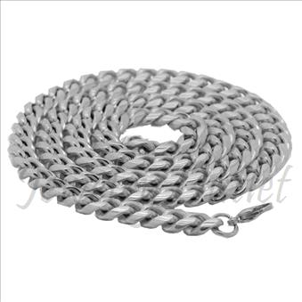 Stainless Steel Mens Miami Cuban Chain Necklace 08MM With 24  Inch