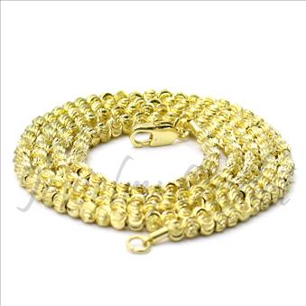 Hip Hop Fashion Brass Moon Cut Necklace Chain & Gold Plating. 30 Inch And 3mm