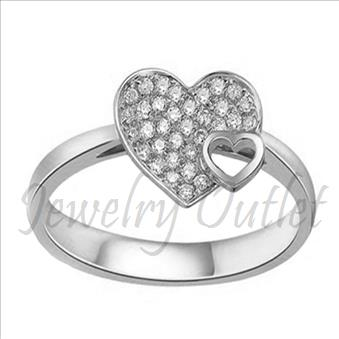 Ladies Heart Sterling Silver Ring In Cubic Zirconia