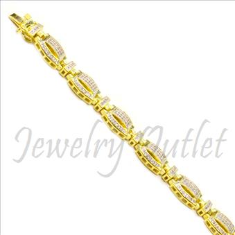 Sterling Silver Mens Bracelet With 14K Gold Plating & Cubic Zirconia  in 8.5 Inch