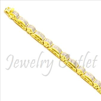 Sterling Silver Mens Bracelet With 14K Gold Plating Cubic Zirconia  in 8.5 Inch