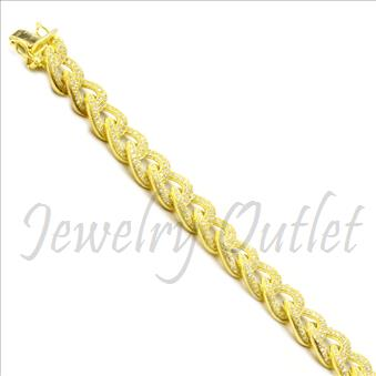 Sterling Silver Mens Bracelet in 14k Gold Plating in 8.5 Inch