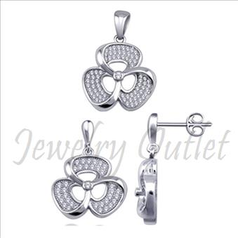 Sterling Silver Ladies Earrings & Pendant Sets