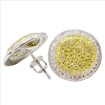 Hip Hop Fashion Mens EarringsAvailable in White, Yellow & Black CZ