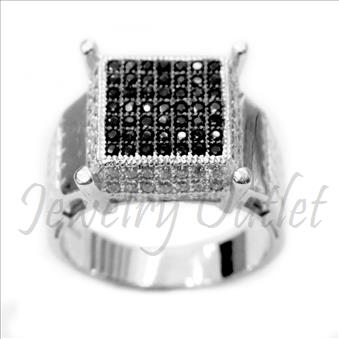 Mens Sterling Silver Ring In Black Cubic Zirconia
