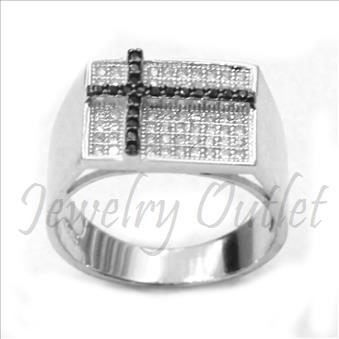 Mens Sterling Silver Ring In Cubic Zirconia