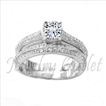 Sterling Silver Bridal Ring With CZ Diamonds