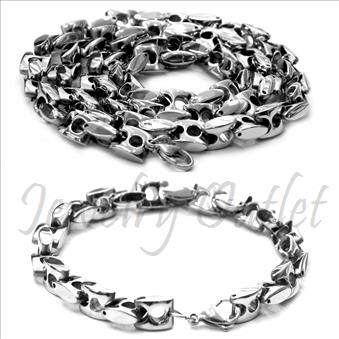 Stainless Steel Mens Link Necklaces And Bracelet Set Necklace in 6 MM With 24 Inch And Bracelet in 6 MM With 9 Inch