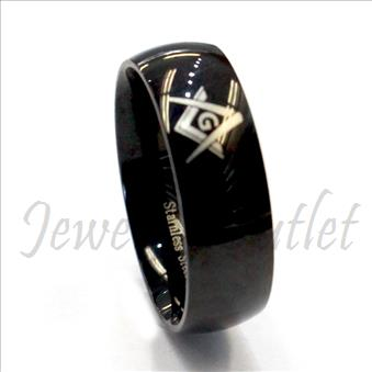Stainless Steel Mens Comfort Fit Band With Masonic Design