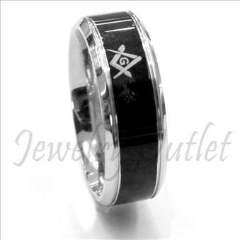 Stainless Steel Mens Comfort Fit Band With Masonic Design & Two Tone Band