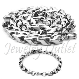 Stainless Steel Mens Bullet Necklaces And Bracelet SetNecklace in 6 MM With 24 InchAnd Bracelet in 6 MM With 9 Inch