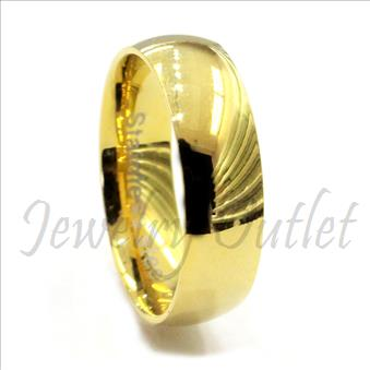 Stainless Steel Mens Comfort Fit Band With Gold Plating