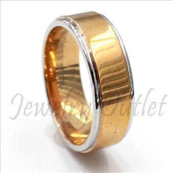 Stainless Steel Comfort Fit Band With Two Tone