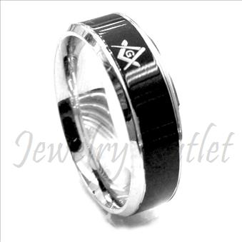 Stainless Steel Comfort Fit Band  With Masonic Design