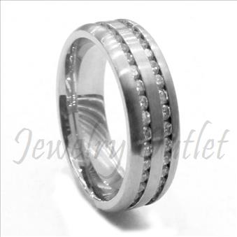 Stainless Steel Comfort Fit Band With Cubic Zirconia and Chanel Setting Band.