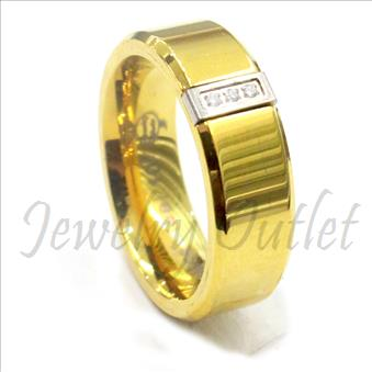 Stainless Steel Comfort Fit Band With Cubic Zirconia