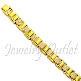 Stainless Steel Mens Bracelets In Gold Plating with CZ Diamonds