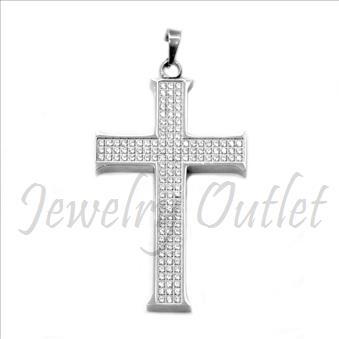Stainless Steel Mens Cross Pendant With CNC Setting & CZ Diamonds