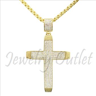 Stainless Steel Mens Large CZ Cross With Necklace
